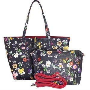 Reversible Floral Vegan Leather Women's Tote Bag